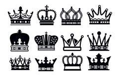 Icônes de couronne Photos stock