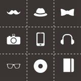 Icônes noires de hippie de vecteur réglées Photos libres de droits