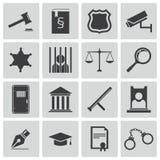 Icônes noires de justice de vecteur Photographie stock