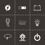 Icônes noires de l'électricité de vecteur réglées Image libre de droits