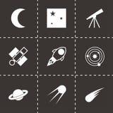 Icônes noires de l'espace de vecteur réglées Image stock