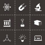 Icônes noires de la science de vecteur réglées Photo stock