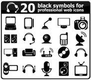 20 icônes noires de media Images libres de droits