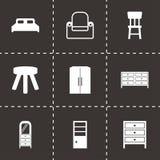 Icônes noires de meubles de vecteur réglées Photographie stock libre de droits