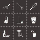 Icônes noires de nettoyage de vecteur réglées Photos libres de droits