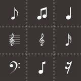 Icônes noires de notes de vecteur réglées Images libres de droits