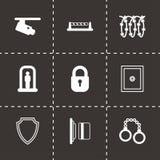 Icônes noires de sécurité de vecteur réglées Photographie stock libre de droits