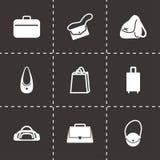 Icônes noires de sac de vecteur réglées Images libres de droits