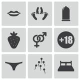 Icônes noires de sexe de vecteur réglées illustration libre de droits