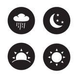 Icônes noires de silhouette d'heure Photographie stock