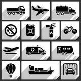 Icônes noires de transport Photographie stock
