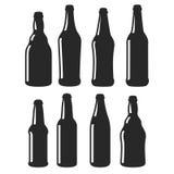 Icônes noires de vecteur de différentes formes de bouteilles à bière illustration de vecteur