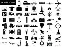 Icônes noires de voyage Photos libres de droits