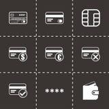 Icônes noires de yeux de carte de crédit de vecteur réglées Photo stock