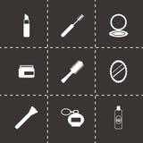 Icônes noires de yeux de cosmétiques de vecteur réglées Photographie stock