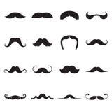 Icônes noires des moustaches d'isolement sur un fond blanc Illustration de Vecteur