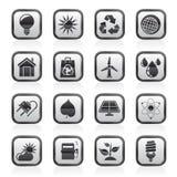 Icônes noires et blanches d'écologie, de nature et d'environnement Photos libres de droits