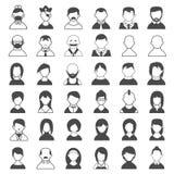 Icônes noires et blanches d'utilisateur Photo stock