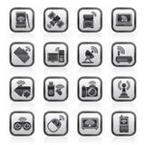 Icônes noires et blanches de radio et de communications Images libres de droits