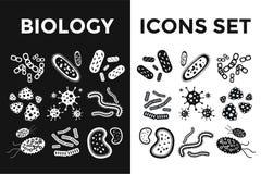 Icônes noires et blanches de vecteur de virus de bactéries réglées Image stock