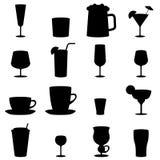 Icônes noires et blanches en verre de boissons Photos stock
