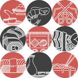 Icônes noires et rouges de nourriture asiatique Photo stock