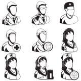 Icônes noires médicales - professions Images libres de droits