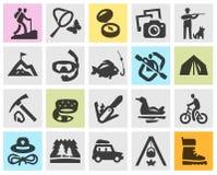 Icônes noires réglées campantes Signes et symboles illustration libre de droits