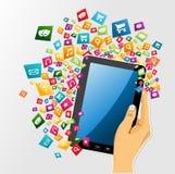 Icônes numériques du PC APP de comprimé de main humaine. Images stock