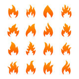 Icônes oranges du feu Photo stock