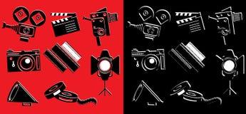 Icônes ou autocollants de film illustration de vecteur