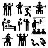 Icônes personnelles d'Instructor Exercise Workout d'entraîneur de car de gymnase Photos libres de droits