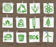 Icônes peu précises d'écologie sur le panneau en bois set1 Image stock
