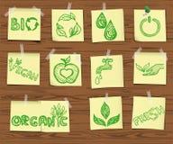 Icônes peu précises d'écologie sur le panneau en bois set2 Image libre de droits