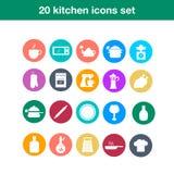 Icônes plates à la mode de cuisine et de cuisson Images libres de droits