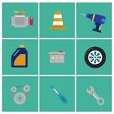Icônes plates à la mode de mécanicien Ensemble d'icônes de machiniste Éléments de machiniste pour le graphique d'infos Illustrati Images libres de droits