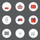 Icônes plates actuelles, bourse, sac et d'autres éléments de vecteur Ensemble d'icônes plates de magasin Photo libre de droits