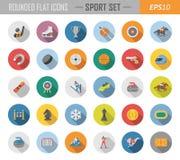 Icônes plates arrondies de sport Images libres de droits