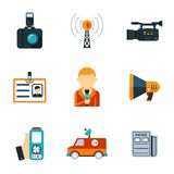 Icônes plates assorties de journalisme Images stock
