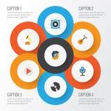 Icônes plates audio réglées Collection d'acoustique, de haut-parleur, de karaoke et d'autres éléments Inclut également des symbol Image libre de droits