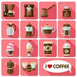 Icônes plates avec la longue ombre du café illustration de vecteur