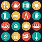 Icônes plates blanches d'agriculture, de ferme et de jardin réglées Photographie stock