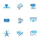 Icônes plates bleues d'aventures romantiques Images stock