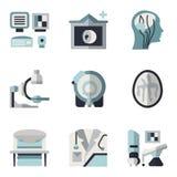 Icônes plates bleues et noires d'IRM Photos stock