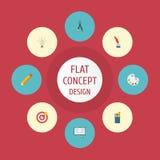 Icônes plates boussole, concept, Pen And Other Vector Elements Ensemble d'icônes plates originales illustration de vecteur