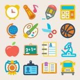 Icônes plates colorées d'école Image libre de droits