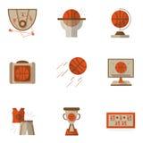Icônes plates colorées de basket-ball réglées Photographie stock