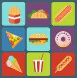 Icônes plates colorées de conception d'aliments de préparation rapide réglées Photos stock