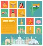 Icônes plates décoratives d'Inde Photographie stock libre de droits