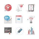 Icônes plates d'éducation de lycée réglées Image stock